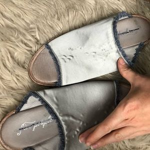 Free People Shoes - Free People Light Blue Satin Slides